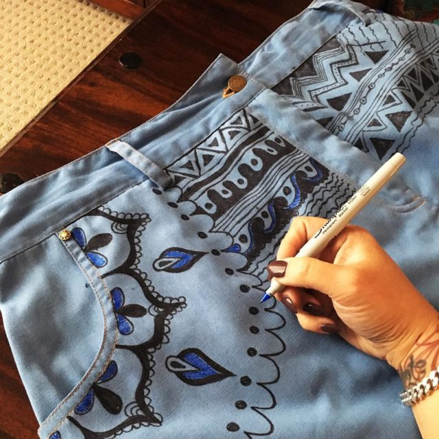 Drawing on my light denim pencil skirt sample while watchinghellip