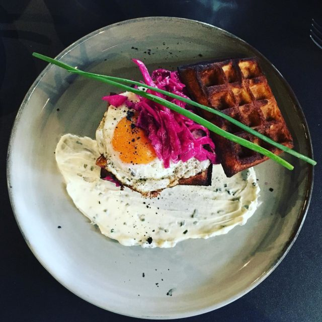 First meal back in Melbourne Parmesan waffles with pastrami redhellip