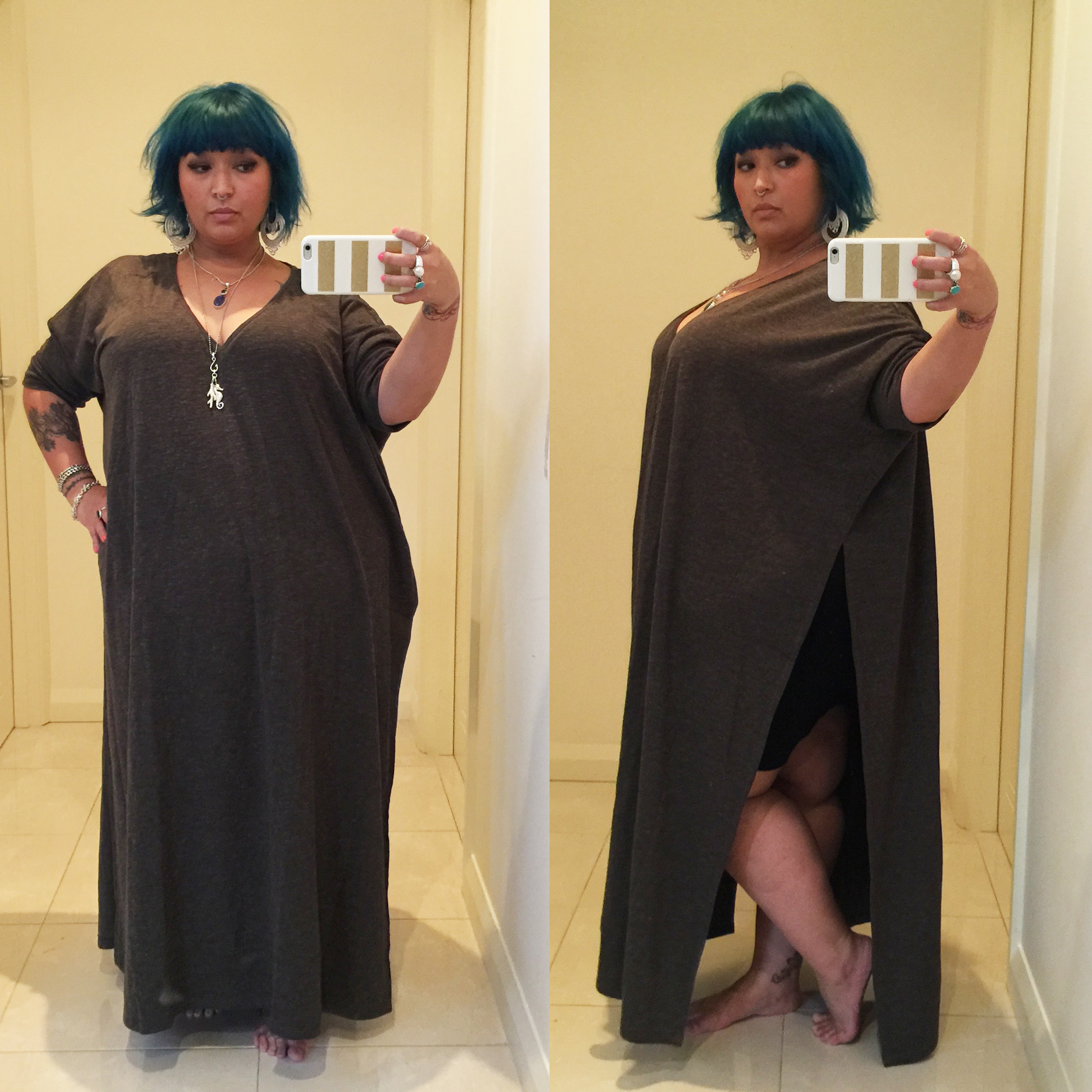 Split side maxi sample made out of a thicker sweatshirt style fabric.