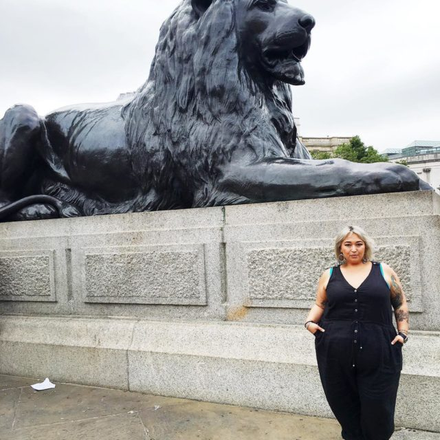 Hanging out with one of the lions at Trafalgar Squarehellip