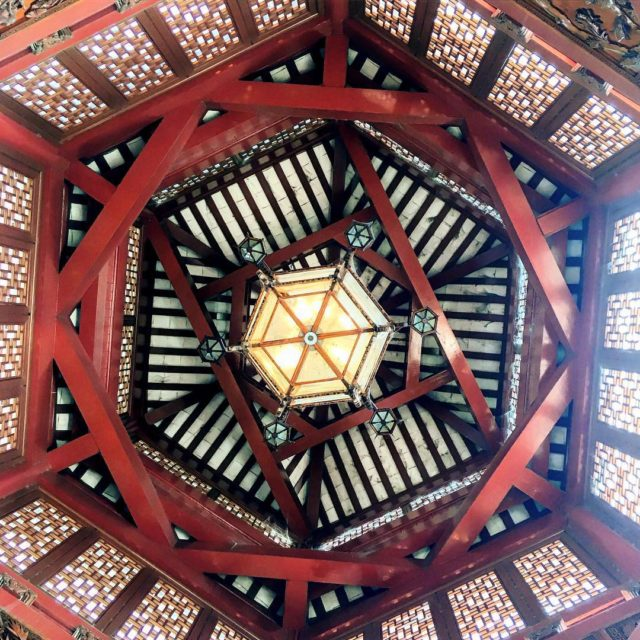 The ceiling of the beautiful pagoda at the top chinesegardenshellip